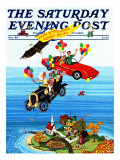 """Flying Cars "" Saturday Evening Post Cover  November 1  1983"