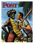 """Island Game "" Saturday Evening Post Cover  April 21  1945"