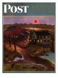 """Nighttime Farm Landscape "" Saturday Evening Post Cover  January 12  1946"