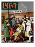 """Leaving the Hospital "" Saturday Evening Post Cover  October 22  1949"
