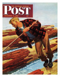"""Log Rolling "" Saturday Evening Post Cover  December 11  1943"
