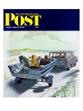 """Highway Boatride,"" Saturday Evening Post Cover, July 14, 1962 Giclée par George Hughes"