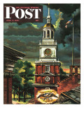 """Independence Hall  Philadelphia  Pa "" Saturday Evening Post Cover  June 2  1945"