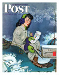 """Mail Delivery by Sleigh "" Saturday Evening Post Cover  January 29  1944"