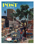 &quot;Peachtree Street &quot; Saturday Evening Post Cover  June 25  1960