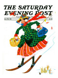 &quot;Skiing Woman &quot; Saturday Evening Post Cover  Jan/Feb 84