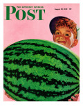 &quot;Big Watermelon &quot; Saturday Evening Post Cover  August 22  1942