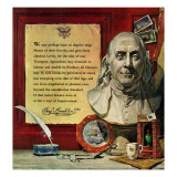 """Benjamin Franklin - bust and quote "" January 16  1960"