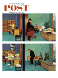"""Putting Time in the Office "" Saturday Evening Post Cover  February 18  1961"