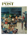 """Clubhouse on Rainy Day "" Saturday Evening Post Cover  July 8  1961"