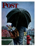 """Mailman "" Saturday Evening Post Cover  May 13  1944"