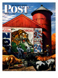 """Barnside Circus Poster "" Saturday Evening Post Cover  August 4  1945"