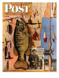 """Fishing Still Life "" Saturday Evening Post Cover  June 29  1946"
