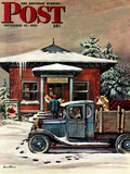 """Rural Post Office at Christmas "" Saturday Evening Post Cover  December 13  1947"