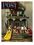 """Rainy Day at Beach Rental "" Saturday Evening Post Cover  July 31  1948"