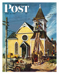 """Church Belfry Repair "" Saturday Evening Post Cover  April 20  1946"