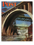 """Fishing Under Bridge "" Saturday Evening Post Cover  June 12  1948"