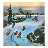 """Sledding by Sunset "" December 18  1948"