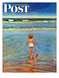 """Baby at the Beach "" Saturday Evening Post Cover  July 23  1949"
