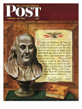 """Benjamin Franklin  1947 "" Saturday Evening Post Cover  January 18  1947"