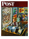 """Travel Agent at Desk "" Saturday Evening Post Cover  February 12  1949"