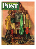 """Loaded Coat Rack "" Saturday Evening Post Cover  April 14  1945"