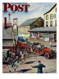 &quot;Small Town Fire Company &quot; Saturday Evening Post Cover  May 14  1949