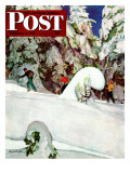 """Cross Country Skiers "" Saturday Evening Post Cover  February 2  1946"
