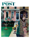 """Tidy and Sloppy Neighbors "" Saturday Evening Post Cover  July 1  1961"