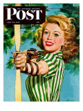"""Woman Archer "" Saturday Evening Post Cover  July 22  1944"