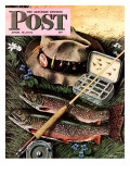 &quot;Fishing Still Life &quot; Saturday Evening Post Cover  April 15  1944