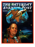 """Franklin and the Space Shuttle "" Saturday Evening Post Cover  July 1  1973"