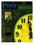 """Giant Clock on New Year's Eve "" Saturday Evening Post Cover  January 1  1949"