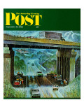 """Convertibles Take Cover in Rain "" Saturday Evening Post Cover  September 15  1962"