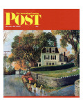 """Walking Home in the Rain "" Saturday Evening Post Cover  October 20  1962"