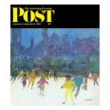 """Ice Skating in Central Park "" Saturday Evening Post Cover  January 5  1963"