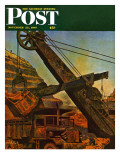 """Mining for Ore "" Saturday Evening Post Cover  November 22  1947"