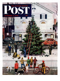 """Tree in Town Square,"" Saturday Evening Post Cover, December 4, 1948 Giclée par Stevan Dohanos"