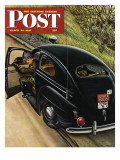 &quot;Policeman with Flat Tire &quot; Saturday Evening Post Cover  March 24  1945