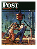 """Drilling for Oil "" Saturday Evening Post Cover  November 9  1946"