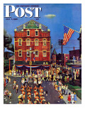 """Independence Parade "" Saturday Evening Post Cover  July 7  1945"