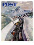 &quot;Snowplows at Snoqualmie Pass &quot; Saturday Evening Post Cover  February 6  1960