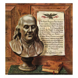 """Benjamin Franklin - bust and quote "" January 19  1946"