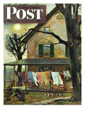 """Hanging Clothes Out to Dry "" Saturday Evening Post Cover  April 7  1945"