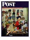 """Millinery Shop "" Saturday Evening Post Cover  March 10  1945"