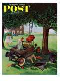 &quot;Working on the Jalopy &quot; Saturday Evening Post Cover  July 15  1961