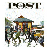 """Commuters in the Rain "" Saturday Evening Post Cover  October 7  1961"