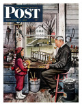 """Grandpa's Workshop "" Saturday Evening Post Cover  November 12  1949"