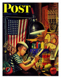 """Model Airplanes "" Saturday Evening Post Cover  December 9  1944"