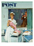 """Father Takes Picture of Baby in Hospital "" Saturday Evening Post Cover  March 11  1961"